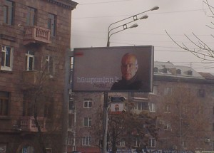 Armenian Presidential candidate campaign billboard